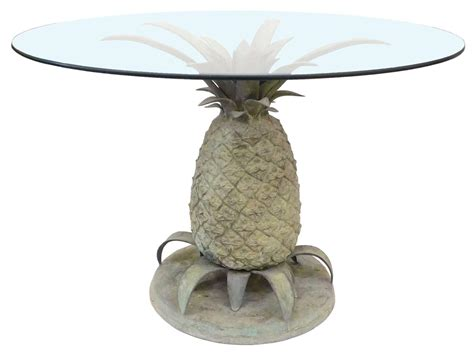 pineapple base dining table cast bronze and glass quot pineapple quot table at 1stdibs