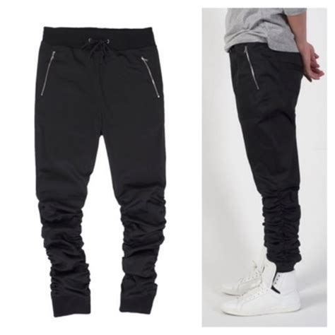 Joger Sweatpants Kiabi black sweatpants zip slim fitting cotton