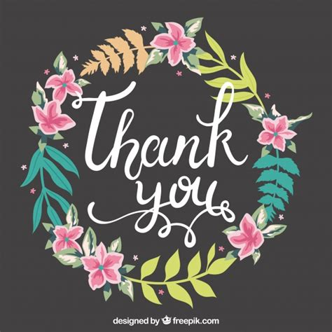 thank you background vintage floral wreath thank you background vector free