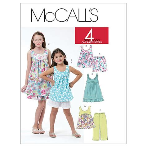 dress pattern how much fabric mccall s children s girls tops dresses shorts and capri