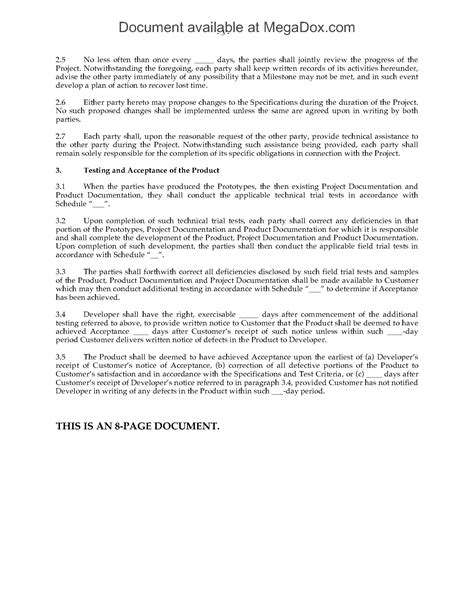 product development agreement template contract