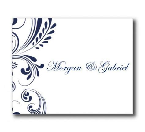 thank you greeting card template word wedding thank you card template navy wedding editable