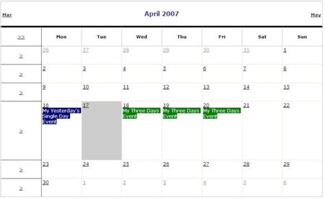 Tin Table Event Calendar Asp Net 2 0 C Codeproject