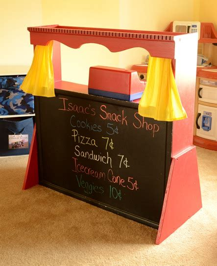 Handmade Puppet Theatre - gift ideas transform hutch into puppet theater for