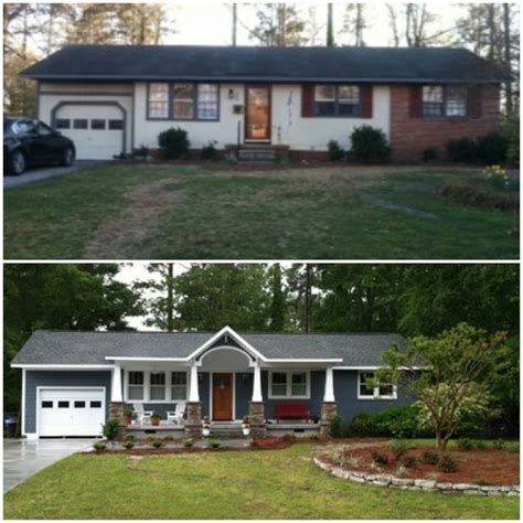 how to add curb appeal with a portico four generations one roof ranch home curb appeal before and after adding a porch