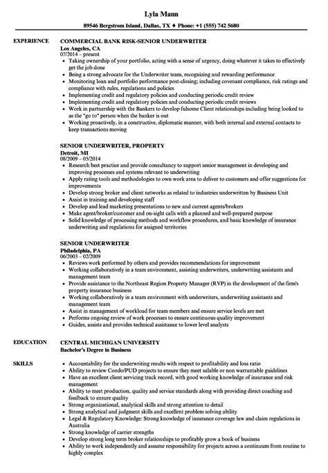 senior underwriter resume sles velvet