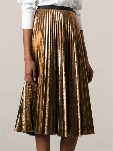 antonio marras metallic pleated skirt in metallic lyst