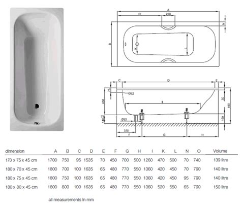 bathtub measurements bette classic bath close up view and technical specifications