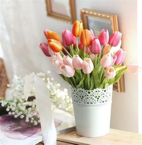 Home Decor   Floral Arrangements   Tulip Silk Flowers, Iron Flower Bucket Arrangement