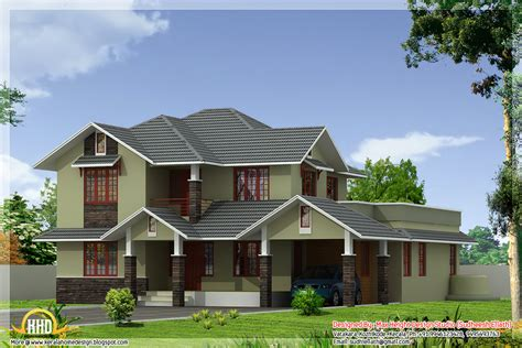 home desing 2 different 3d home elevations kerala home design and