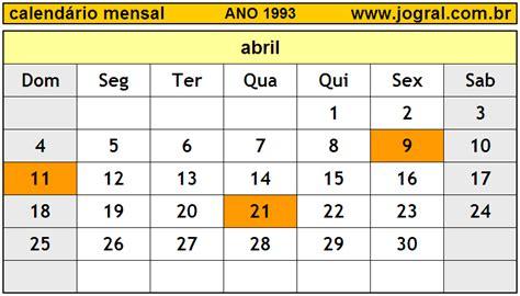Calendario De 1993 Calend 225 Mensal Abril De 1993 Imprimir M 234 S De Abril 1993