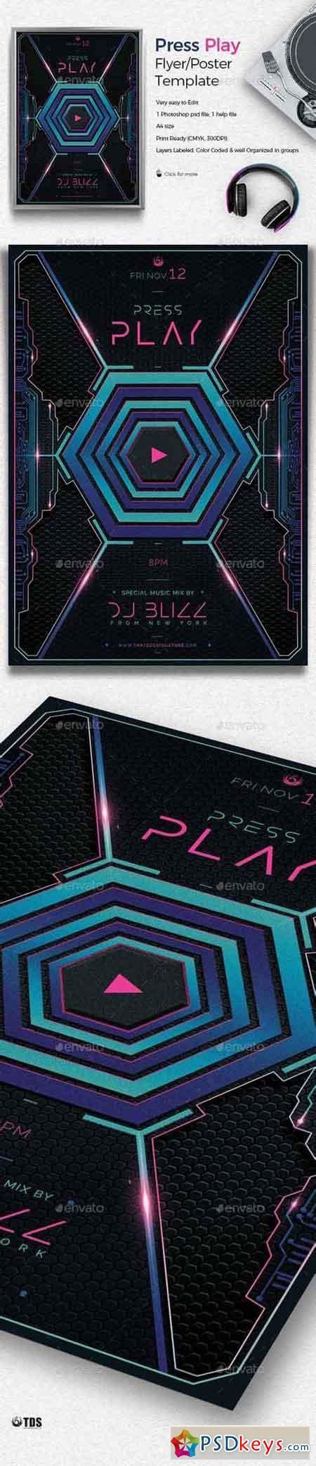Press Play Flyer Template 19488077 187 Free Download Photoshop Vector Stock Image Via Torrent Play Flyer Template