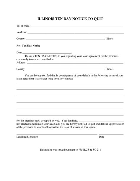 Illinois 10 Day Notice To Quit Form Non Compliance Eforms Free Fillable Forms Eviction Notice Illinois Template