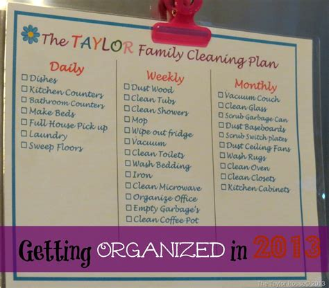 setting up a cleaning schedule that works the taylor house