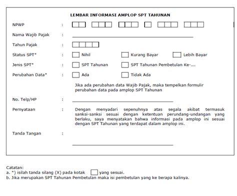 format lop spt tahunan lembar informasi amplop spt tahunan semua tentang pajak