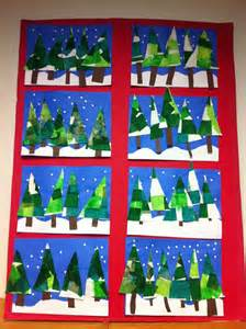Art winter trees with tissue paper and hole punched snowflakes