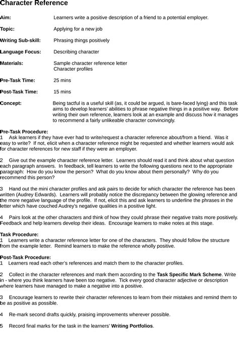 resume templates character letter sle of character resume with character reference