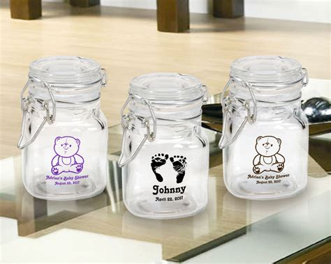 Personalized Baby Shower Decorations by Baby Shower Imprinted Glass Jars With Snap Lid Favors