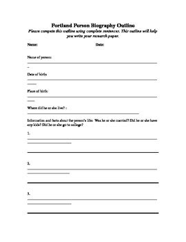 family biography format biography outline and template by missjojo teachers pay