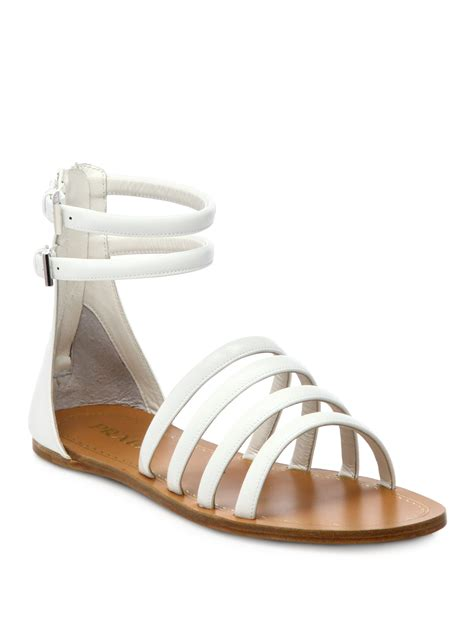 prada sandals prada saffiano patent leather gladiator sandals in white