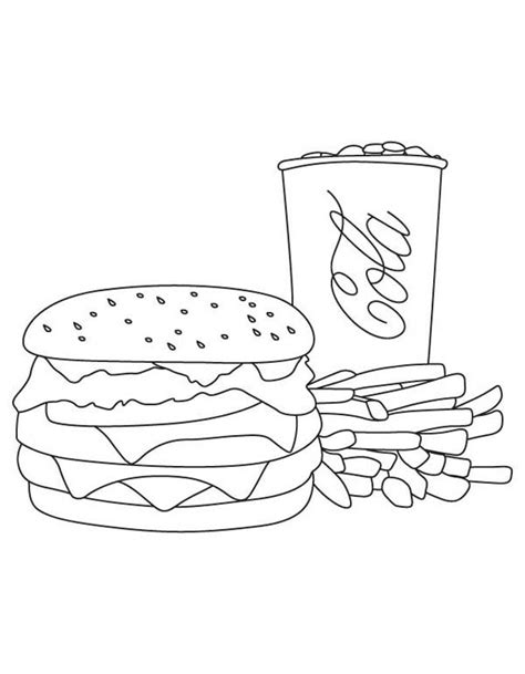 burger king coloring pages burger and fries coloring pages