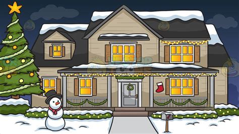 houses decorated for a house decorated for the season background clipart vector
