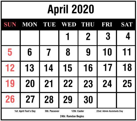 april  printable calendar excel  word format printable february