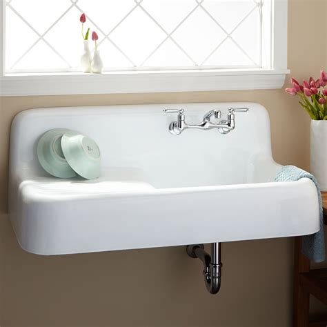 kitchen sink cast iron signature hardware 42 quot cast iron wall hung kitchen sink with drainboard ebay