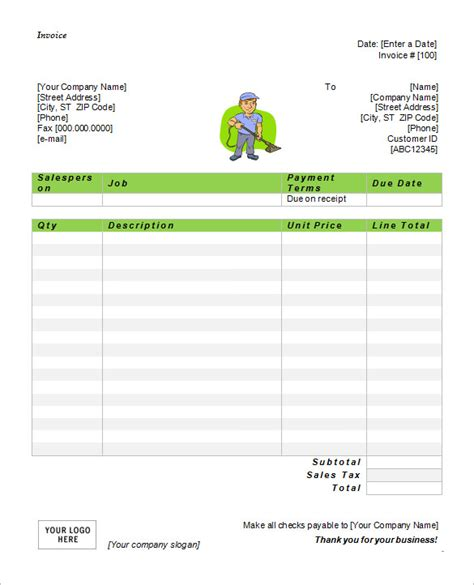 Cleaning Invoice Template Word   invoice example