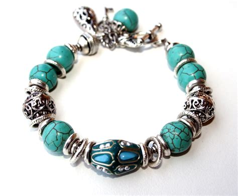 Handcrafted Gemstone Jewellery - tuquoise howlite and kashmiri bead bracelet retouched 2