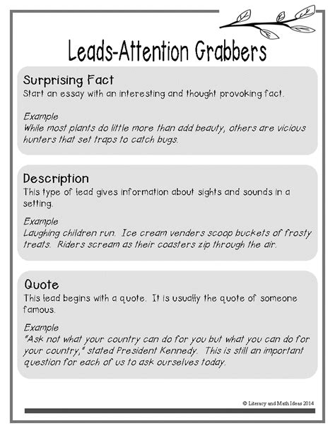 Exles Of Attention Grabbers For Essays by Literacy Math Ideas Free List Of Attention Grabbers Leads For Narrative Opinion And