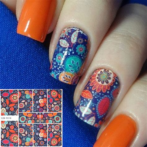 Floral Water Transfer Nail Stickers Stiker Kuku wuf 1 sheet nail sticker chic blue flower image patterns water transfer decals for nail