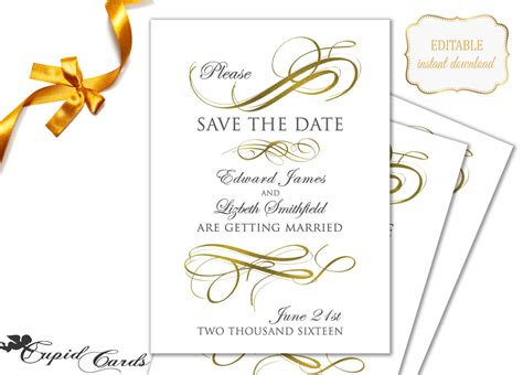 gold save the date template editable printable by cupidcards