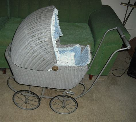 antique thc victorian wicker baby doll buggy stroller