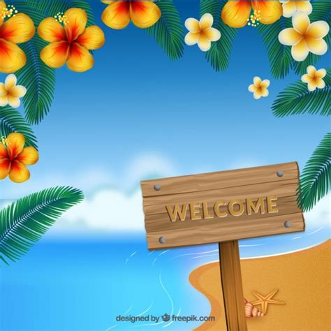 clipart da scaricare welcome to paradise in a wooden signboard vector free