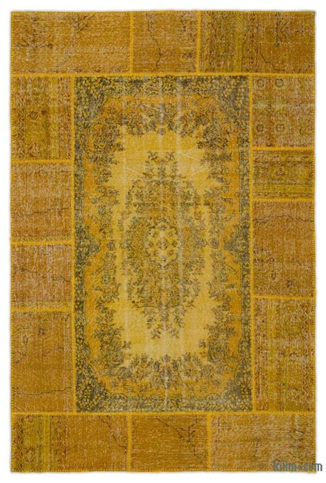 Turkish Overdyed Patchwork Rugs - k0026828 yellow dyed turkish patchwork rug
