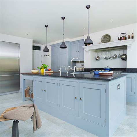 Best Type Of Paint For Kitchen Cabinets by Blue Grey Kitchen Island Ideal Home