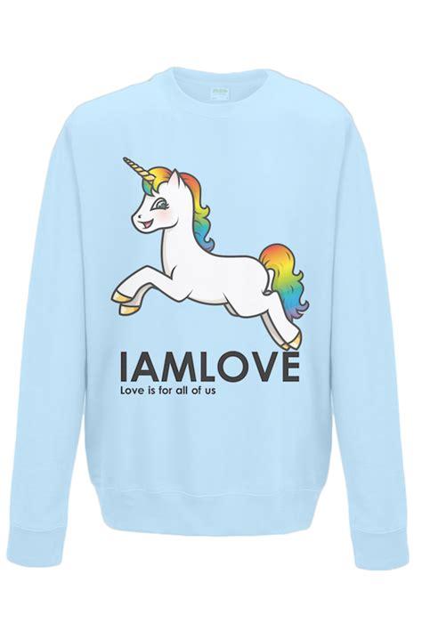 Sale 7365 Sweater Blue Unicorn iamlove trui