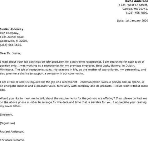 Cover Letter Exle Receptionist by Cover Letter For Receptionist Letter Of Recommendation