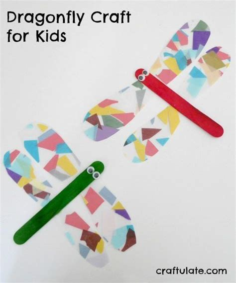 Dragonfly Paper Craft - dragonfly craft for made from sticky paper tissue