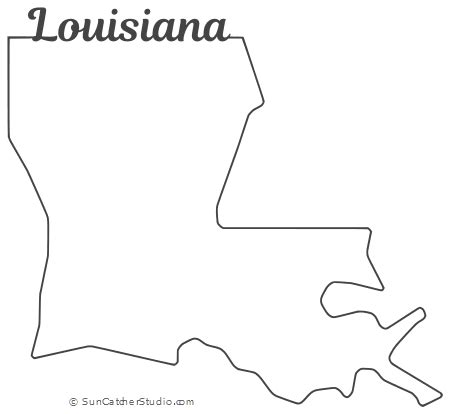 louisiana map outline printable state shape stencil