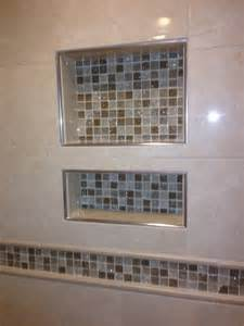 Schluter Kerdi Shower Bench Shower Niche With Glass Mosaic Tile And Schluter Edging Yelp