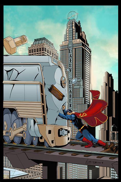 superman vs train by logicfun on deviantart