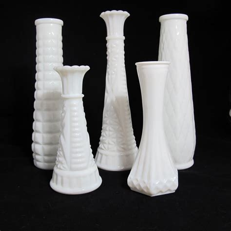 vintage milk glass vases the piper collection set of 5