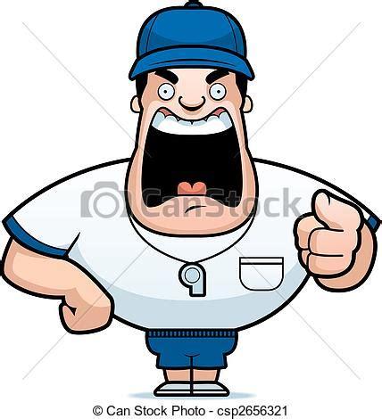coach yelling. a cartoon coach yelling.