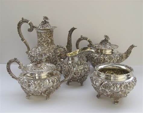 Ck Date Set Silver Plat Black sterling silver tea coffee set repousse baltimore by
