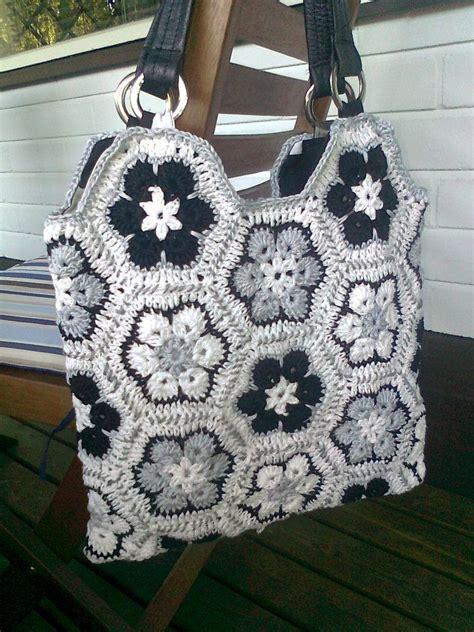 african flower crochet pattern bag african flower bag afrikankukka kassi labores