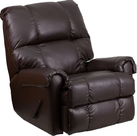 plush recliner plush rolled arms ty chocolate leather rocker recliner