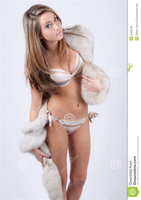 all teen girl models young bikini and fur stock photography image 35359782