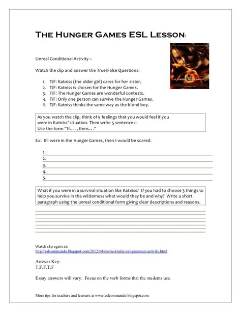 the hunger games themes worksheet answers the hunger games esl lesson